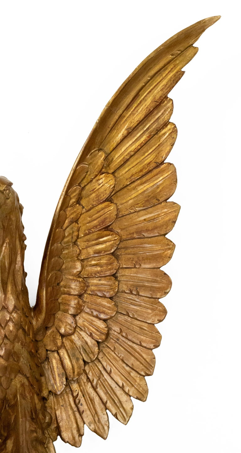 Federal 20th-Century American Gilt Carved Eagle Wall Plaque For Sale