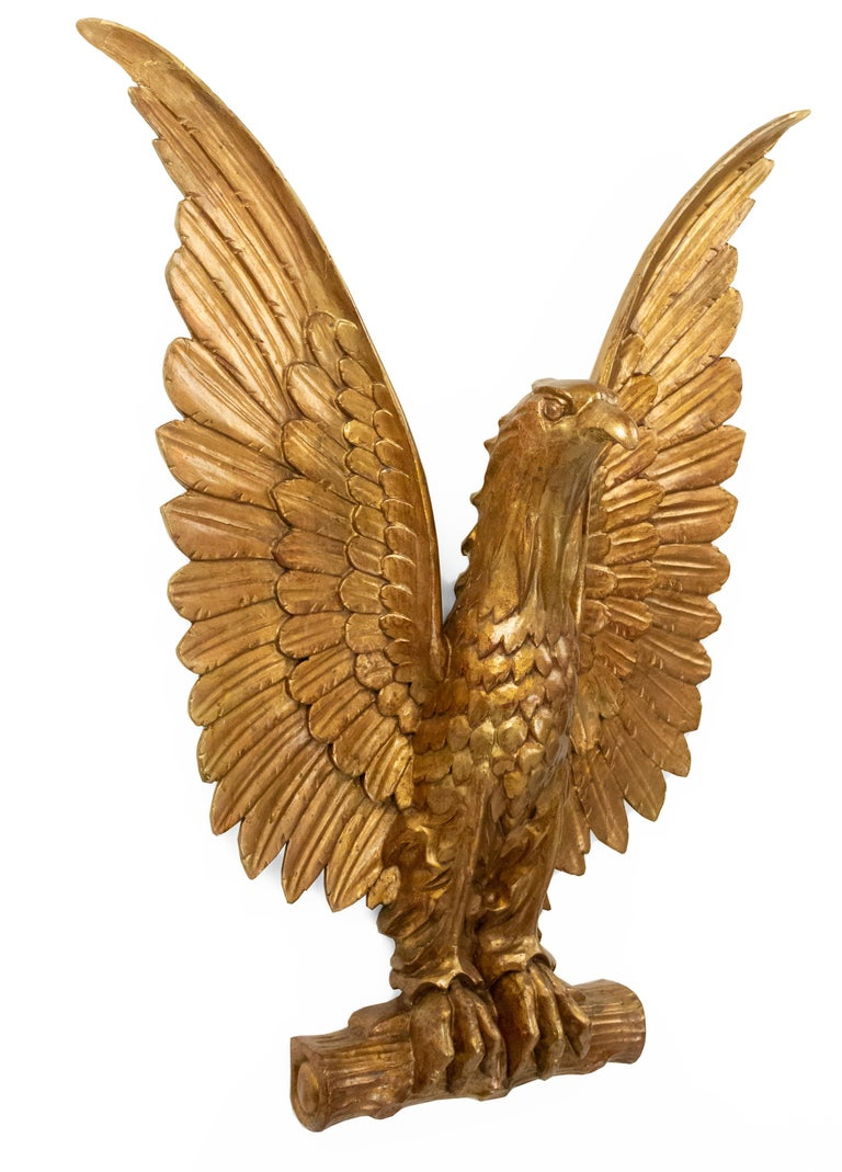 20th-Century American Gilt Carved Eagle Wall Plaque In Good Condition For Sale In New York, NY