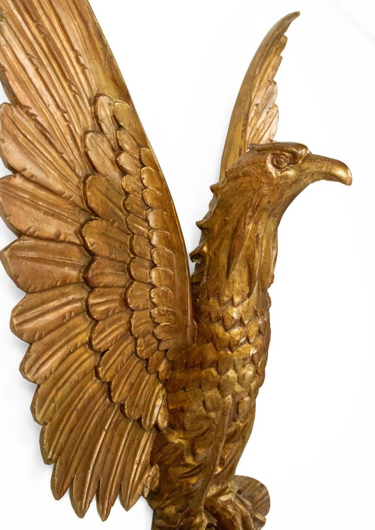 20th Century 20th-Century American Gilt Carved Eagle Wall Plaque For Sale