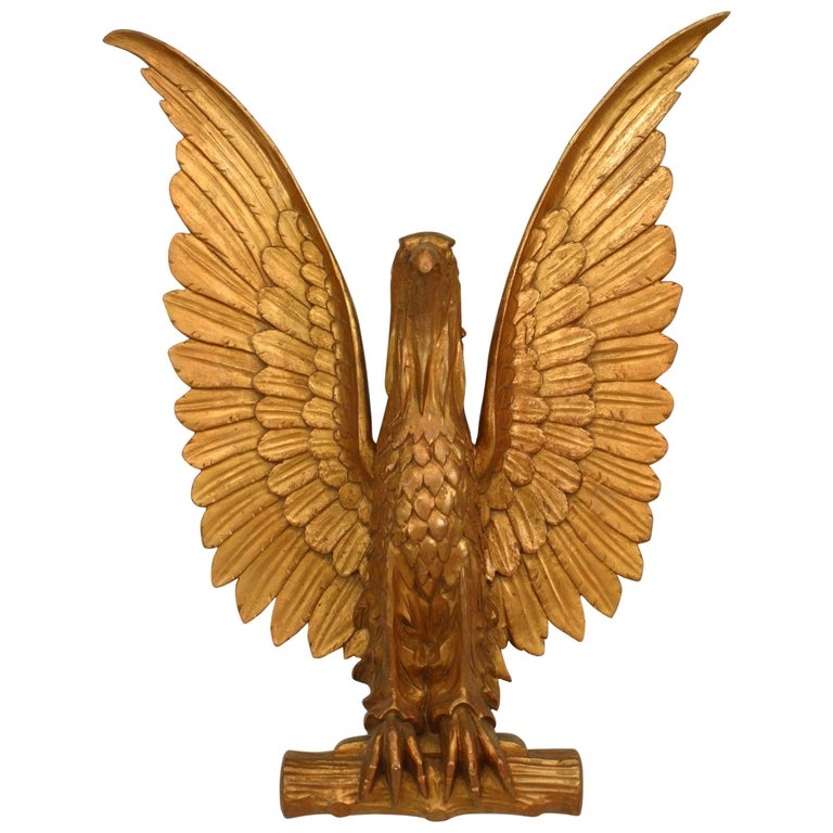20th-Century American Gilt Carved Eagle Wall Plaque For Sale