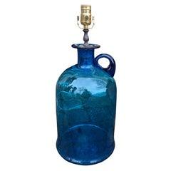 20th Century American Large Blue Grass Jug as Lamp