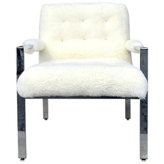 20th Century American Mid-Century Modern Sheepskin Armchair by Milo Baughman