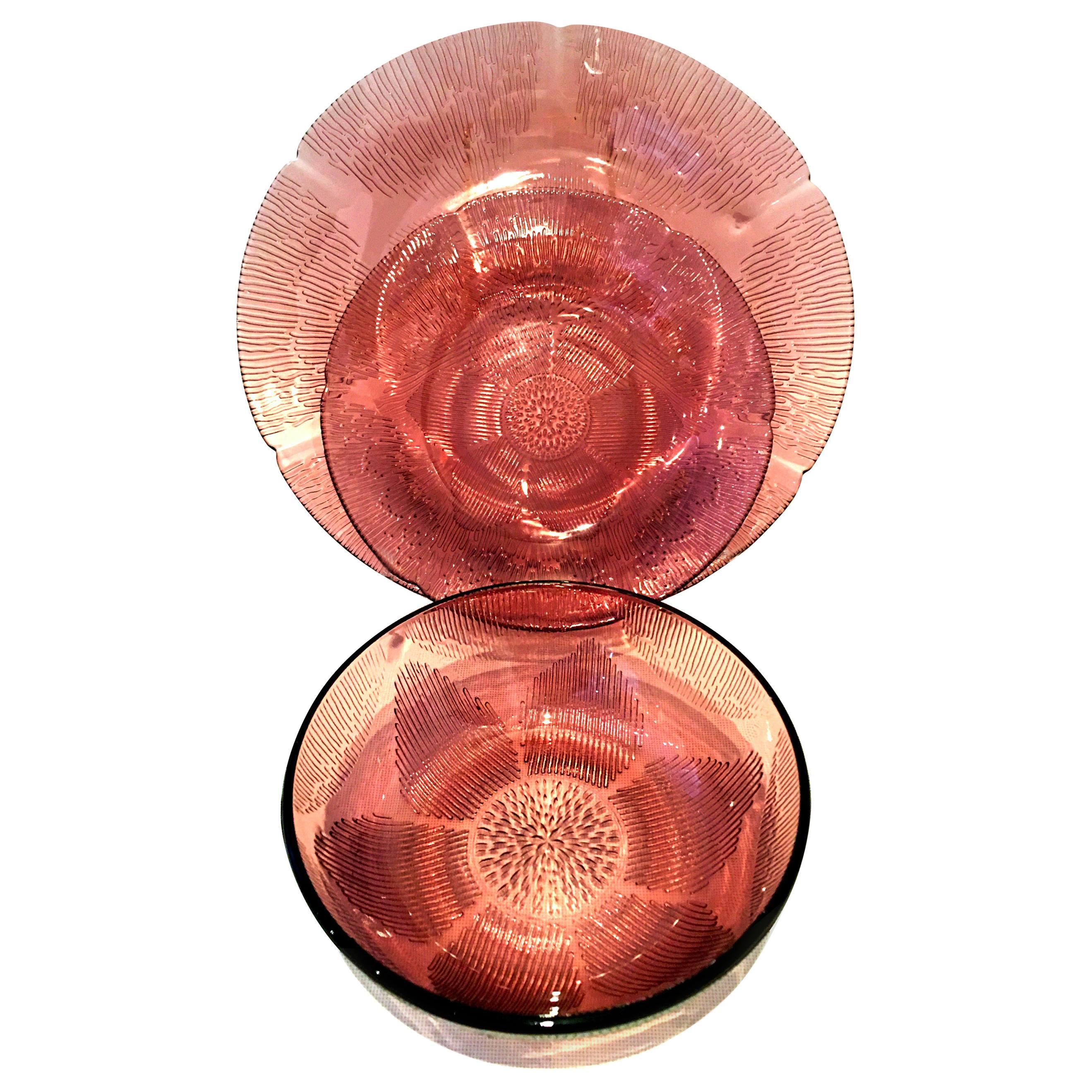 20th Century American Pressed Glass Amethyst Dinnerware Set of Twelve Pieces