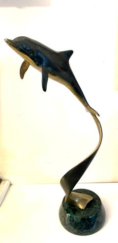 1970s American Modern Bronze Sculpture of a turning, Swimming Dolphin