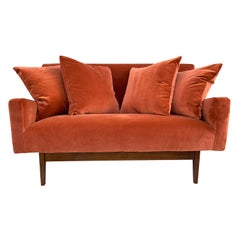 20th Century American Small Two Seater Sofa, Walnut Settee by Jens Risom Design