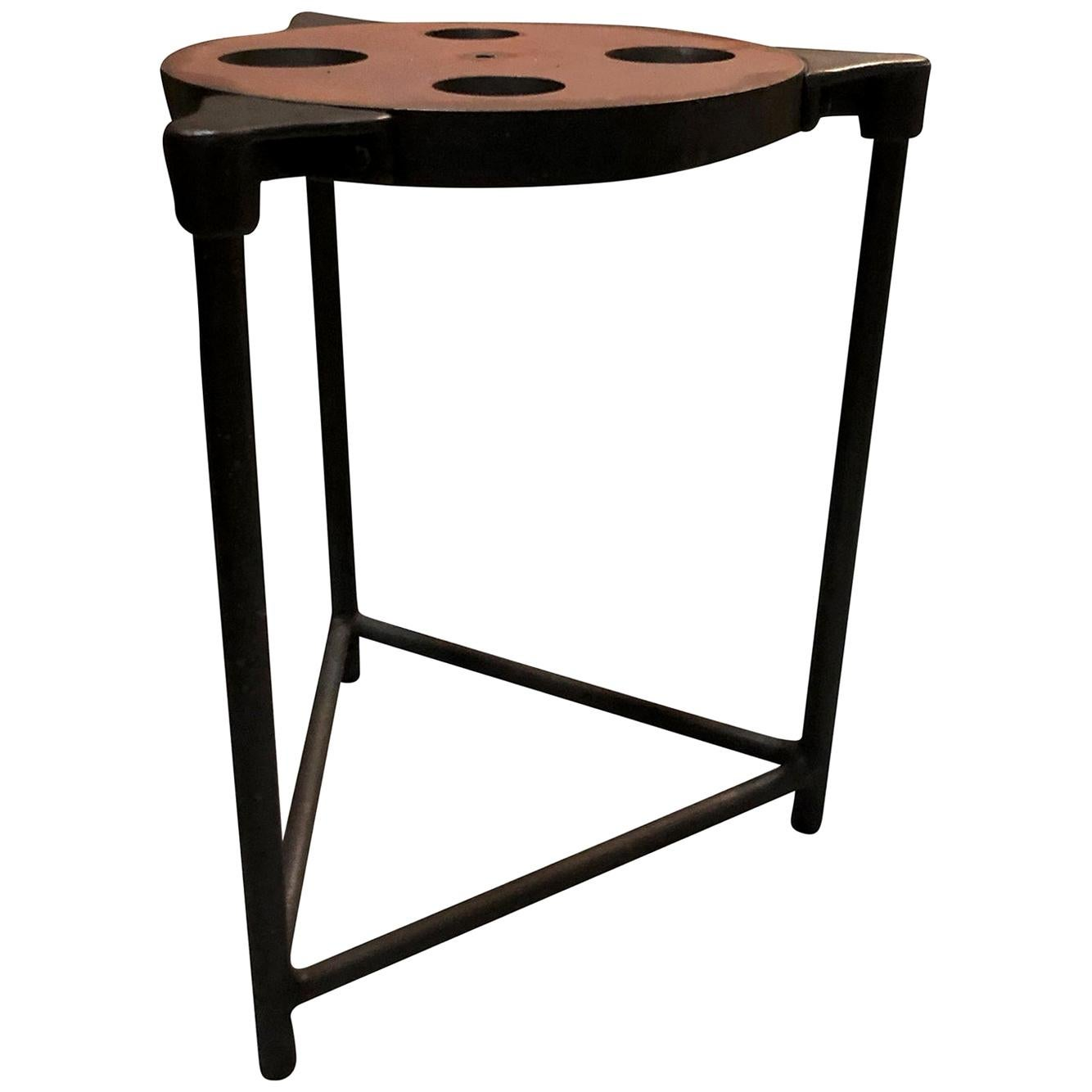20th Century American Vintage Industrial Machinist Table, Metal Side Table