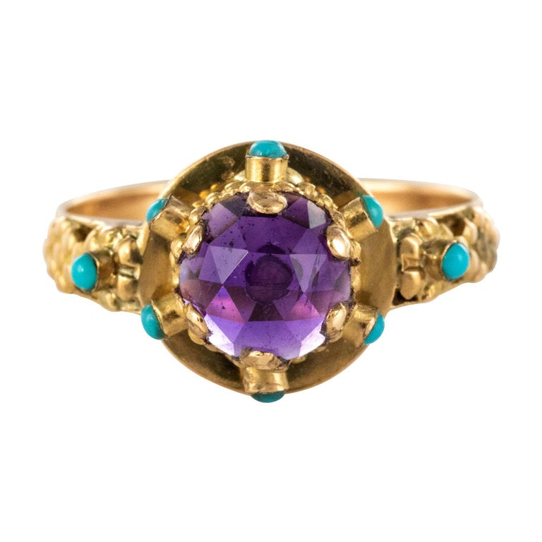 20th Century Amethyst Turquoise 20 Karat Yellow Gold Ring For Sale