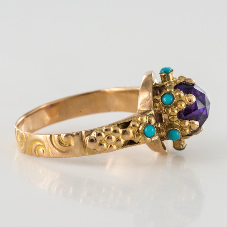 20th Century Amethyst Turquoise 20 Karat Yellow Gold Ring For Sale 5
