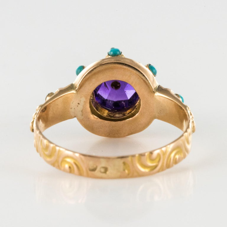 20th Century Amethyst Turquoise 20 Karat Yellow Gold Ring For Sale 7