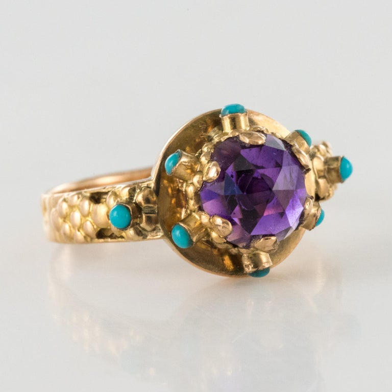 20th Century Amethyst Turquoise 20 Karat Yellow Gold Ring For Sale 8