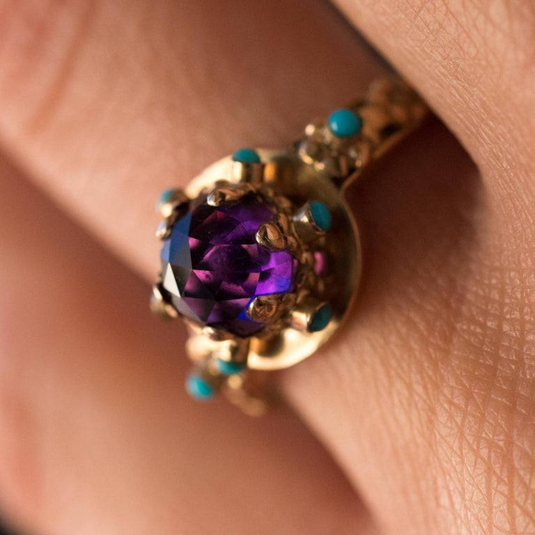 20th Century Amethyst Turquoise 20 Karat Yellow Gold Ring For Sale 9