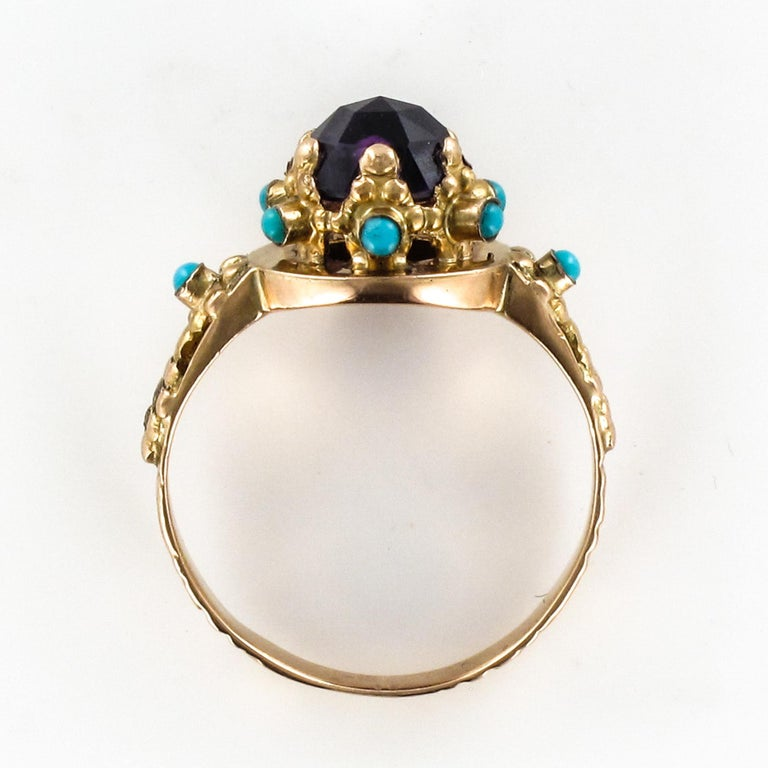 20th Century Amethyst Turquoise 20 Karat Yellow Gold Ring For Sale 10