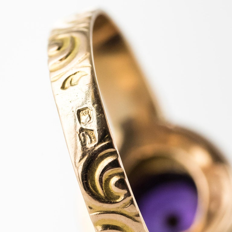 20th Century Amethyst Turquoise 20 Karat Yellow Gold Ring For Sale 11