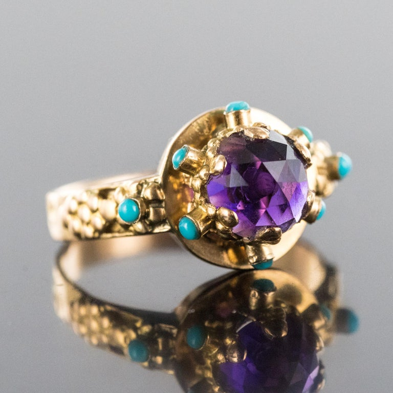 20th Century Amethyst Turquoise 20 Karat Yellow Gold Ring In Good Condition For Sale In Poitiers, FR