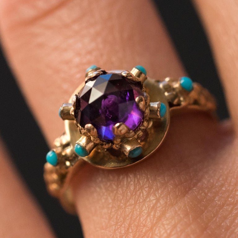 Women's 20th Century Amethyst Turquoise 20 Karat Yellow Gold Ring For Sale