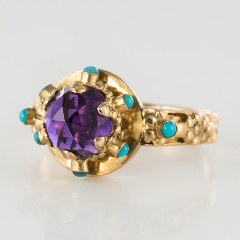 20th Century Amethyst Turquoise 20 Karat Yellow Gold Ring For Sale 1