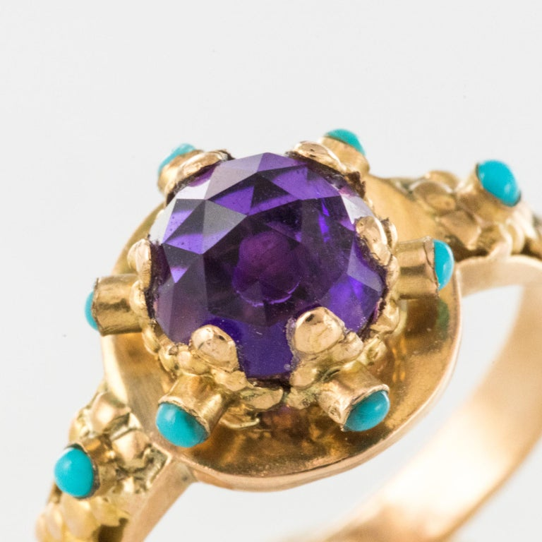 20th Century Amethyst Turquoise 20 Karat Yellow Gold Ring For Sale 2