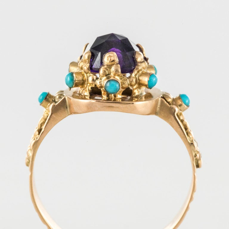 20th Century Amethyst Turquoise 20 Karat Yellow Gold Ring For Sale 4
