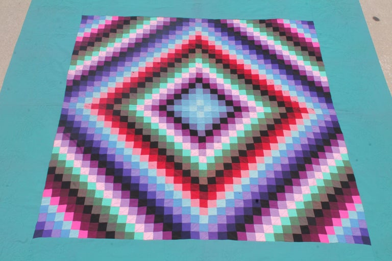 American 20th Century Amish Sunshine and Shadow Quilt from Lancaster, Pennsylvania For Sale