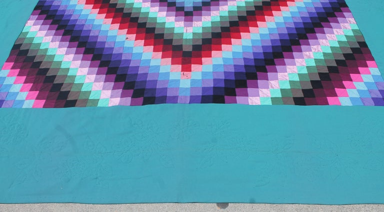 Cotton 20th Century Amish Sunshine and Shadow Quilt from Lancaster, Pennsylvania For Sale