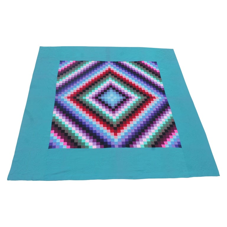 20th Century Amish Sunshine and Shadow Quilt from Lancaster, Pennsylvania For Sale