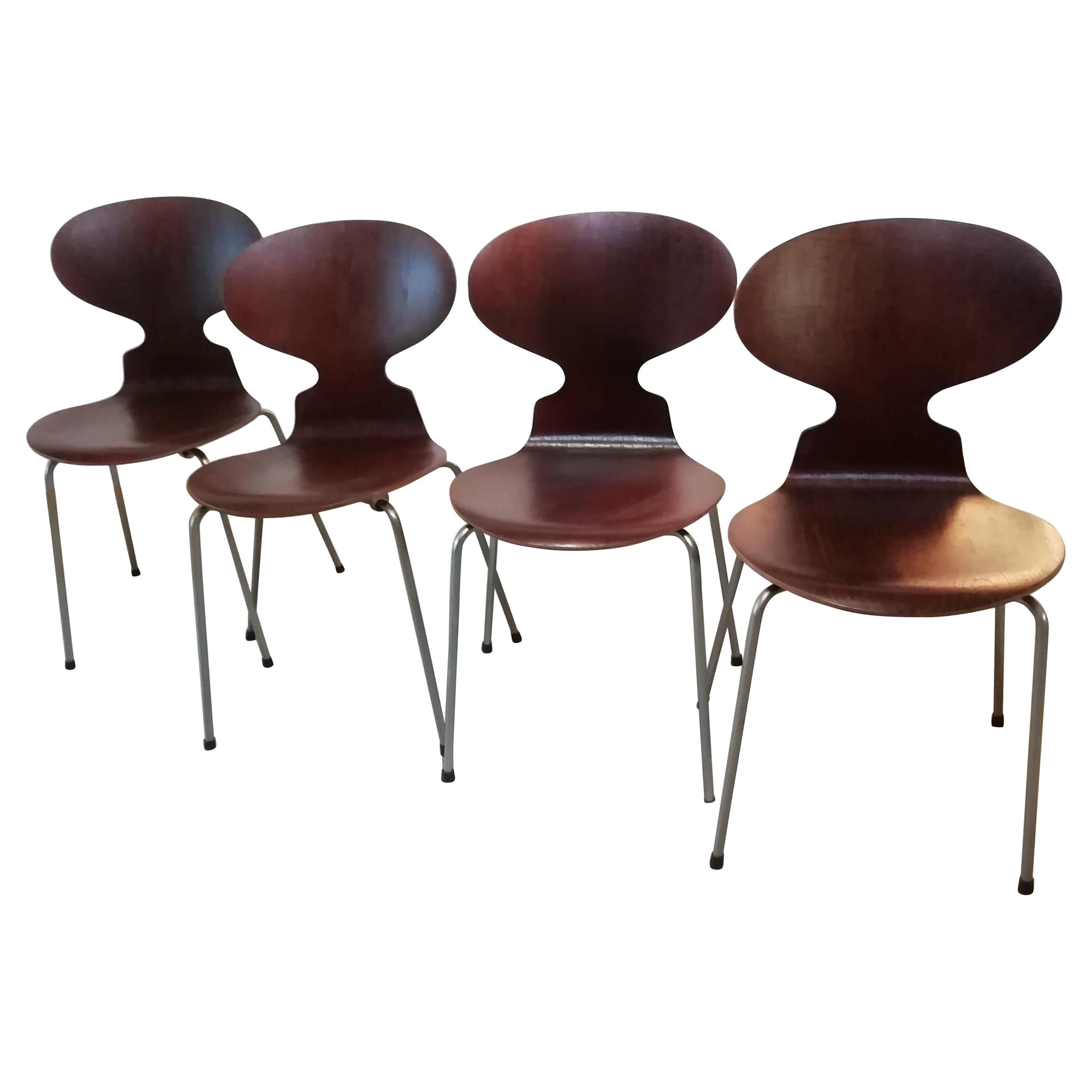20th Century Ant Dining Chairs by Arne Jacobsen Fritz Hansen, 1950s, Set of 4