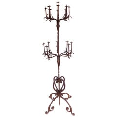 20th Century Antique 17-Place Candleholder in Wrought Iron Design