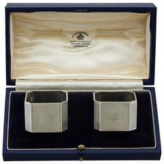 20th Century Antique 1939 Sterling Silver Napkin Rings by Mappin & Webb Ltd