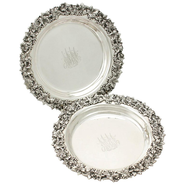20th Century Antique American Sterling Silver Coasters, Circa 1900 For Sale