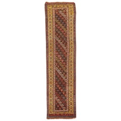 20th Century Antique Azerbaijan Runner Rug with Colored Floral Motifs All-Over