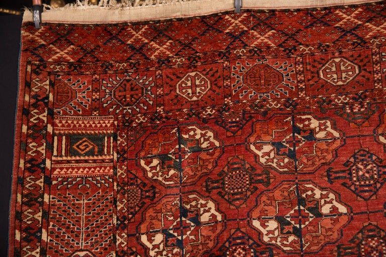 Hand-Knotted 20th Century Antique Buchara Carpet Rug For Sale