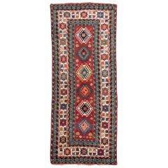 20th Century Antique Caucasian Rug, Geometric Design