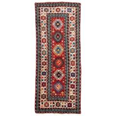 20th Century Antique Caucasian Rug, Geometric Design