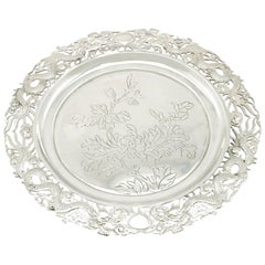 20th Century Antique Chinese Export Silver Salver by Wing Fat, Circa 1900