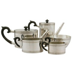 20th Century Antique Continental Silver Five-Piece Tea and Coffee Service