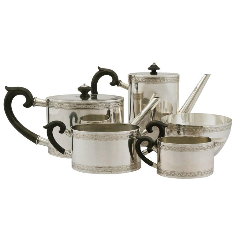 20th Century Antique Continental Silver Five-Piece Tea and Coffee Service For Sale