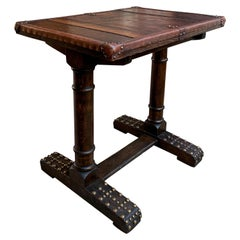 20th Century Antique English Oak Leather Table Desk Brass Trim Trestle Base