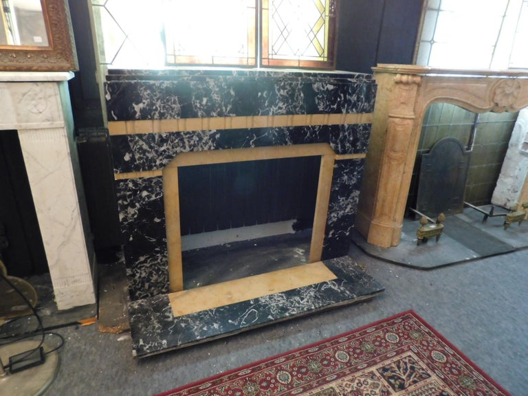 Italian 20th Century Antique Fireplace in Black Portoro Marble and Siena Yellow Art Deco For Sale