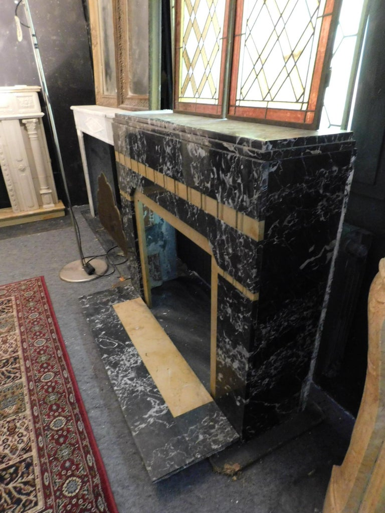 Mid-20th Century 20th Century Antique Fireplace in Black Portoro Marble and Siena Yellow Art Deco For Sale