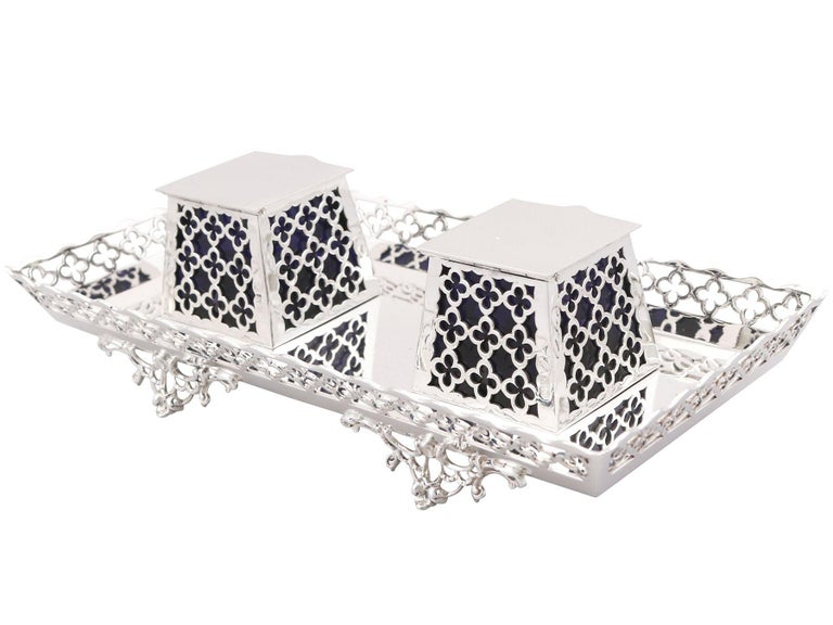 An exceptional, fine and impressive antique George V English sterling silver galleried double inkstand; an addition to our ornamental office silverware collection  This exceptional, fine and impressive antique George V sterling silver inkstand has