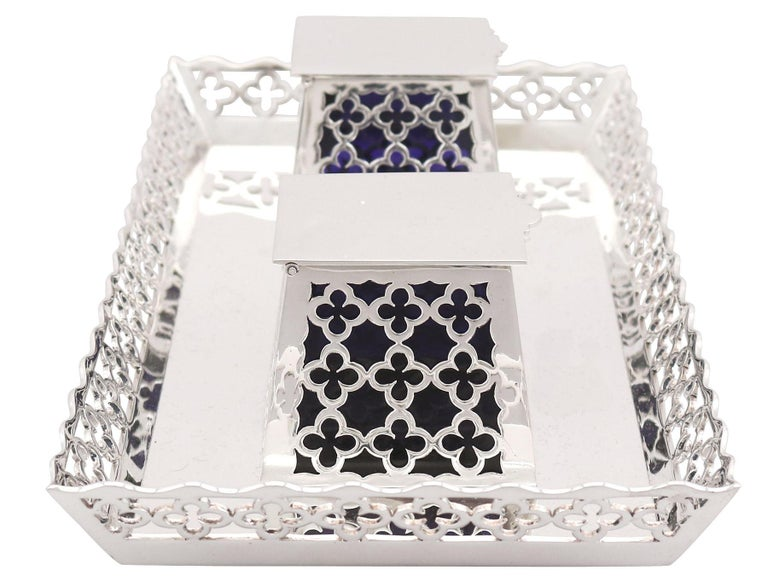 English 20th Century Antique George V 1919 Sterling Silver Galleried Double Inkstand For Sale