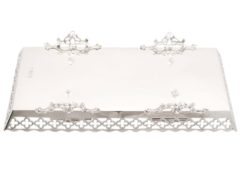 Early 20th Century 20th Century Antique George V 1919 Sterling Silver Galleried Double Inkstand For Sale