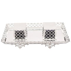 20th Century Antique George V 1919 Sterling Silver Galleried Double Inkstand