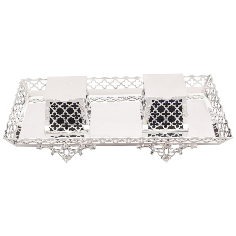 20th Century Antique George V 1919 Sterling Silver Galleried Double Inkstand For Sale