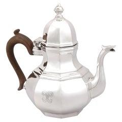 20th Century Antique George V Queen Anne Style Britannia Standard Silver Teapot