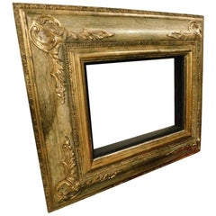 20th Century Antique Lacquered Frame with Gold Decorations