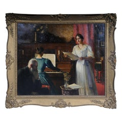 20th Century Antique Musical Oil Painting Carl Friedrich Koch