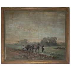 20th Century Antique Oil Painting with a Rural Scene