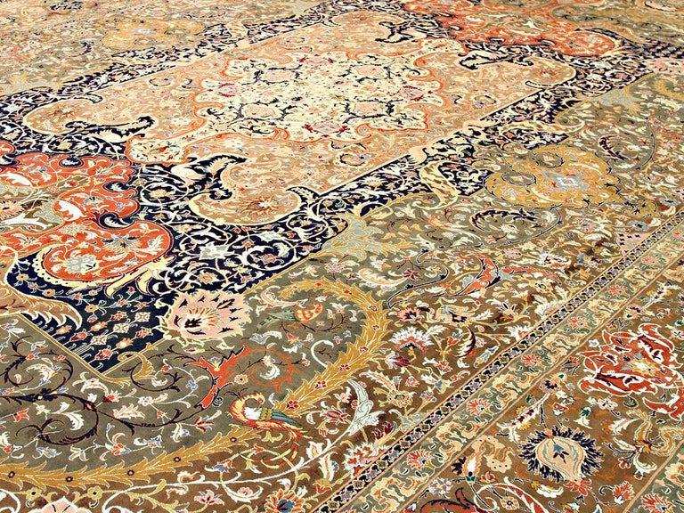Hand-Woven 20th Century Antique Oversize Persian Tabriz Rug with Colorful Floral Details For Sale
