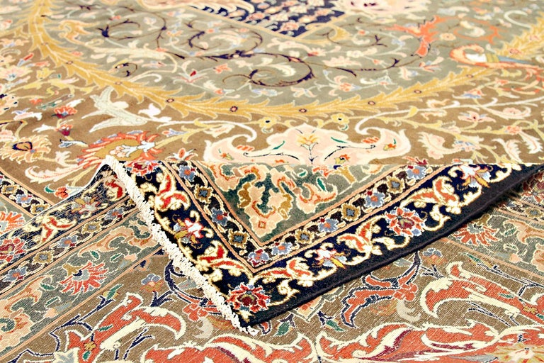 20th Century Antique Oversize Persian Tabriz Rug with Colorful Floral Details In Excellent Condition For Sale In Dallas, TX